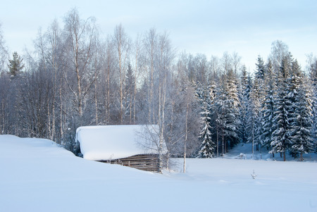hovel: An old hovel covered with snow in Finnish countryside