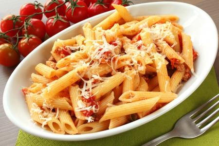 maccheroni: Italian pasta in a white oval plate