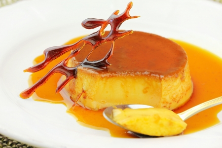 brulee: French creme caramel dessert  Stock Photo