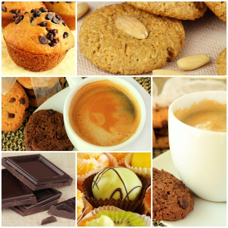 Collage - coffee and sweets photo
