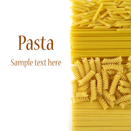 Variety of dry pasta isolated on white. With sample text  版權商用圖片