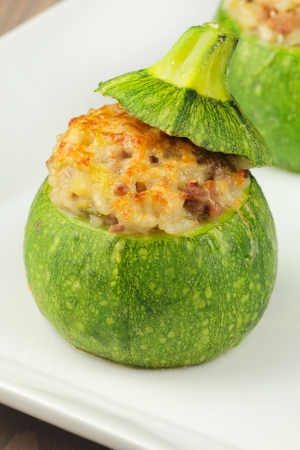 marrow squash: Stuffed round zucchini roasted in the oven