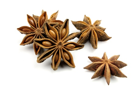 aniseed: Anise stars on a white background