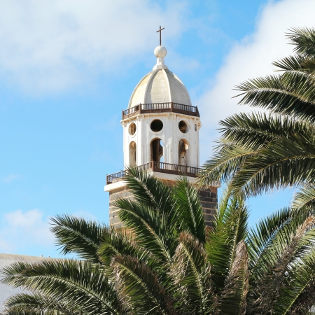Beautiful view on the belltower of the parish church of San Miguel in Teguise, Lanzarote  Canary Islands, Spain   Stock Photo - 17686533