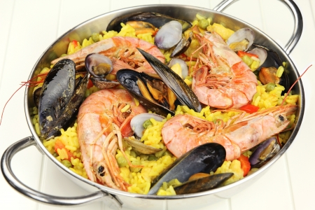 Seafood paella with mussels, clams and prawns