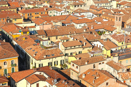 panoramic roof: Red roofs of Verona, Italy