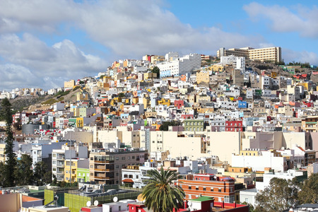 residencial: Panoramic view on colourful residencial structures in the cty of Las Palmas of Gran Canaria, Canary Islands, Spain