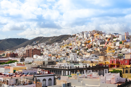 Panoramic view on colourful residential structures in the city of Las Palmas of Gran Canaria, Canary Islands, Spain Stock Photo