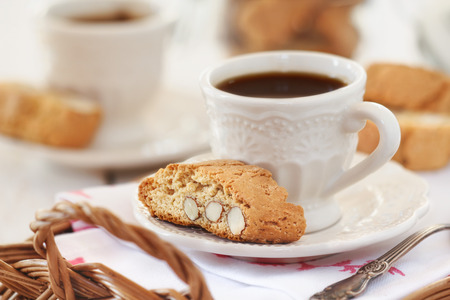 baking tray: Good morning concept - Breakfast for two with Italian cantuccini biscuits and espresso coffee Stock Photo