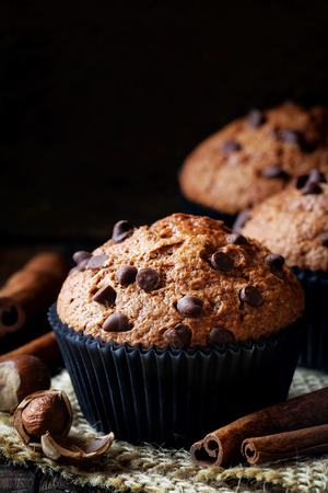 muffin: Homemade Chicolate chip, cinnamon and hazelnut muffin against black background with copy space for your text Stock Photo