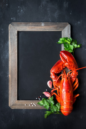 Whole red lobster with fresh parsley, garlic, salt and pepper beans on empty black chalkboard against black background. Overhead view with plenty of copy space for your menu or recipe list
