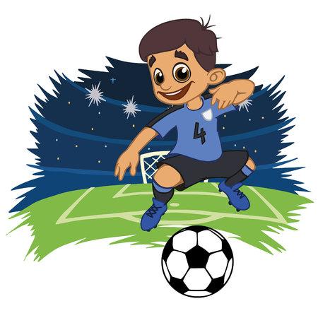 A cartoon soccer player is playing ball in a stadium in uniform Uruguay. Vector illustration Ilustração