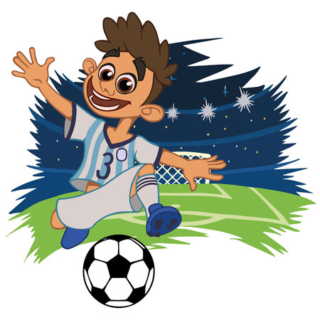 A cartoon soccer player is playing ball in a stadium in uniform Argentina. Vector illustration 向量圖像