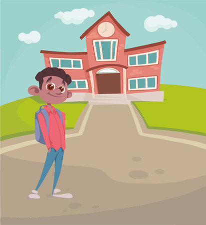 boy with a backpack on the background of the school. vector Illustration