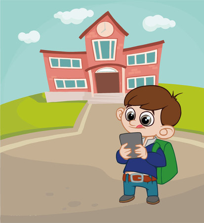 boy with a backpack on the background of the school. Illustration
