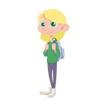 vector person. schoolgirl in jeans with a backpack Vettoriali