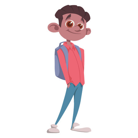 vector person. pupil in a shirt with a backpack