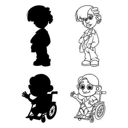 Set of silhouettes and outline girl and boy in a wheelchair. Vector illustration