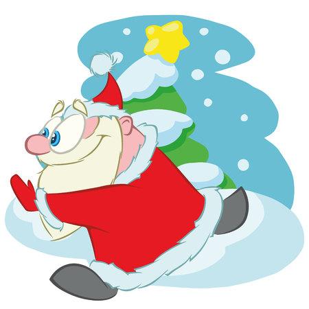 Running Santa Claus, cartoon vector character.