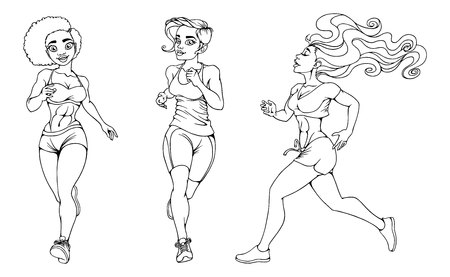 Beautiful girl running on a white background. Illustration