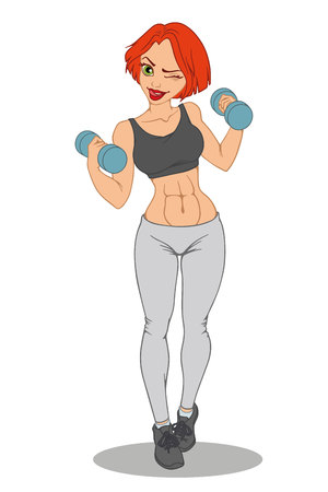 Athletic sexy girl with dumbbells