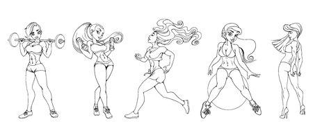 set of sexy sports girls vector illustration