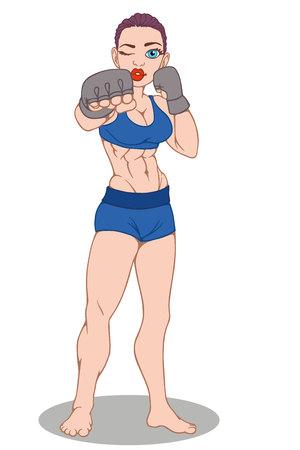 Girl boxer on a white background. Vector illustration  イラスト・ベクター素材