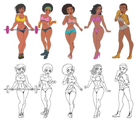 Mädchen von afroamerikanischen Frauen, die Sport treiben