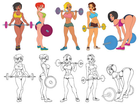 Set of beautiful sport girls models with barbell