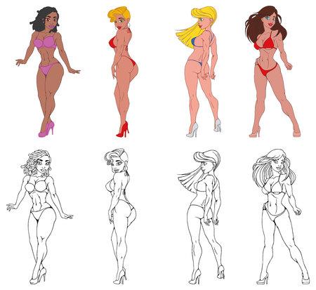 Set of beautiful sport girls models in bikinis. vector illustration Ilustración de vector