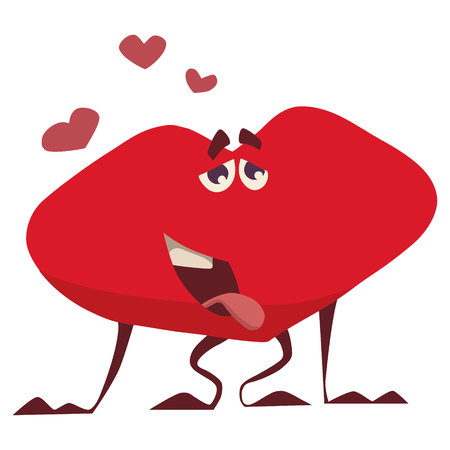 funny heart of love stuck out his tongue from happiness Ilustração