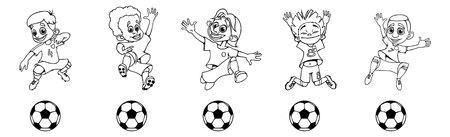 Set of children soccer players Illustration