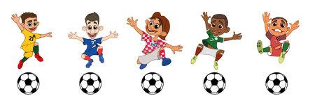 Set of children soccer players Ilustracja