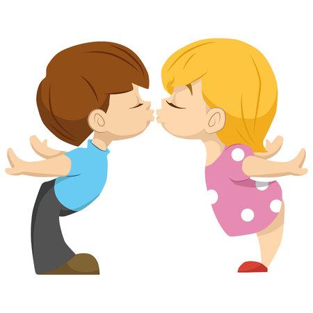 süßes paar kinder. der Junge küsst das Mädchen. Valentika