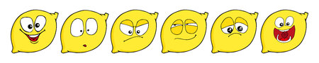 Lemon set of funny smiles. Collect fruits and food. Vector cartoon illustration. Cute stylish characters