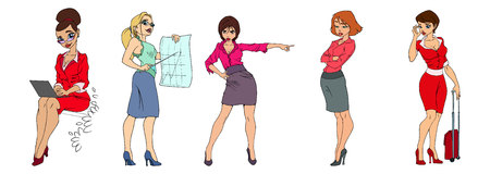 cute office girls in smart casual fashion Vector Illustration