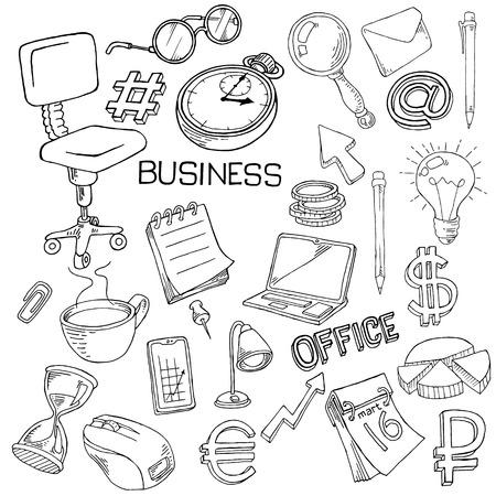Papelería, atributos de oficina doodle sobre fondo blanco.