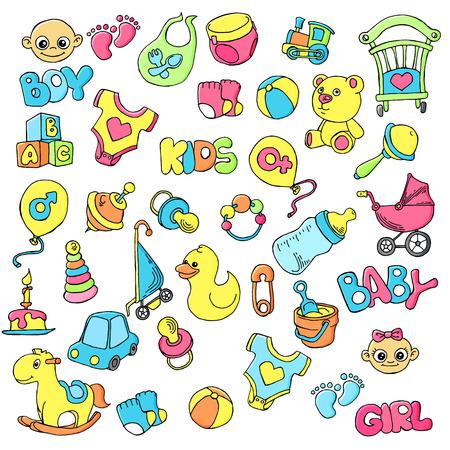Vector dibujado a mano conjunto de objetos y elementos de doodle de dibujos animados de cuidado de bebé recién nacido.