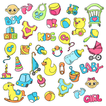 Vector hand drawn set of newborn baby care cartoon doodle objects and items.