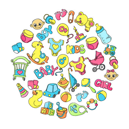Newborn infant themed cute doodle set. Baby care, feeding, clothing, toys, health care stuff, safety, accessories. Vector drawings isolated 向量圖像
