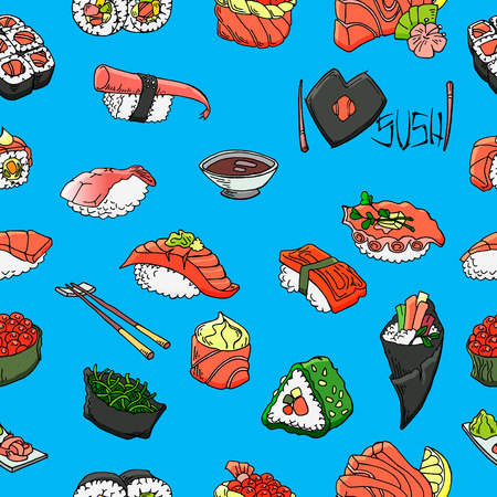 Sushi and rolls vector seamless pattern. Hand drawn graphics.  イラスト・ベクター素材