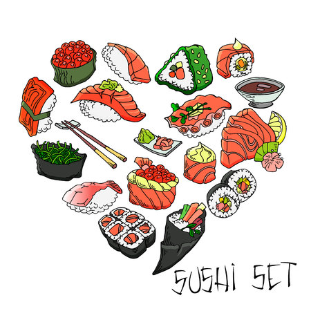 Hand-drawn various sushi. vector set All elements are isolated