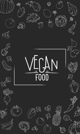 Vector chalkboard vertical background for text. Sketch doodle vegetable and fruit organic drawing illustration