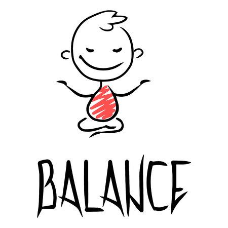 Sketch of a work leader balans. Hand drawn cartoon vector illustration for business design. Stock Illustratie