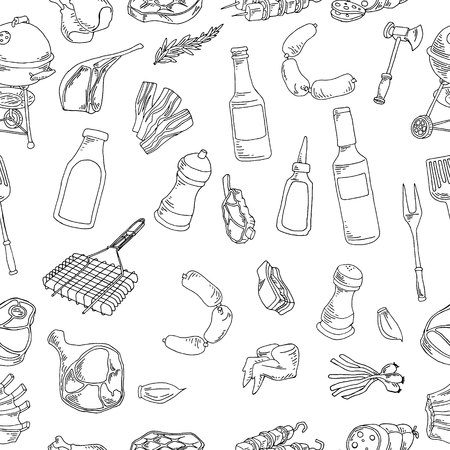 Vector illustration of a collection of meat and meat products. Seamless background Ilustração Vetorial