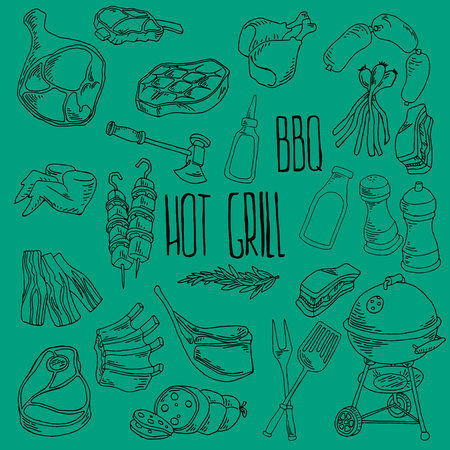 Vector meat icons set Vector meat icons set, barbecue, hot grill