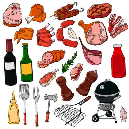 Gastronomic meat products in cartoon style. icons of steak, bacon, sausage, chicken wings, chicken legs, ribs.
