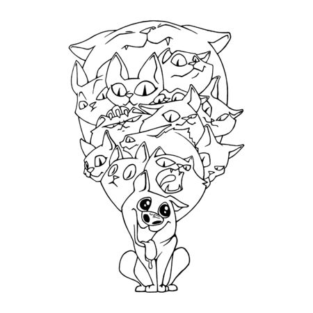 dog with cats, sketch of handwork.