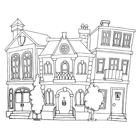 sketch of a street with houses drawing by hand