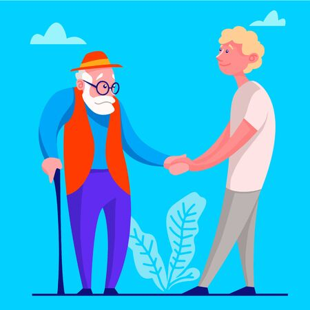 A young man voluntarily helps the old man. The idea of supporting a person to retire. Isolated vector illustration in cartoon style.